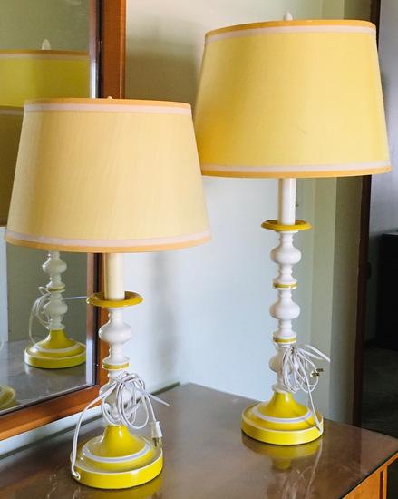 2 Matching Yellow & White Lamps