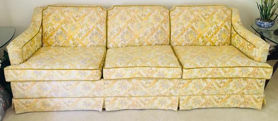 Formal Vintage Sofa in Golden Yellow.