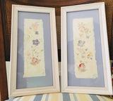 2 Framed Signed Pressed Flower & Paper Artwork