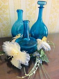 Collection of Blue Glass Vases. No marked names