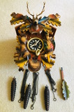 Vintage Hunting Theme Cuckoo Clock Bachmaier & Klemmer Clock Factory Berchtesgaden Germany 1971