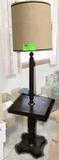 Wooden Floor Lamp and End Table Combination