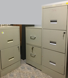 3 Total w/Keys - (2) 2 Drawer and (1) 3 Drawer Tall File Cabinet w/Accessory Turn Caddy