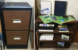 Black File Cabinet w/ 3 Shelf Bookcase and Supplies