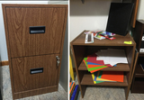 Brown File Cabinet w/Office Supplies