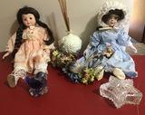 Collector Dolls, Glass Bird Paperweight, Crystal Star Dish, Ceramic Oil Vase
