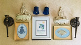 Wall Decor framed pictures two small shells two matching scones two candle holders