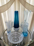 Early American pressed glass and blue vases