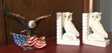Set of Owl Bookends and Statue of Eagle With USA Flag
