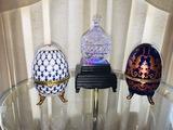 LED Pedestal, 2 Piece Crystal, 2 Faberge Eggs