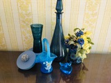 Blue Themed Decor - Vase, Pitcher, Flowers, Pine Box