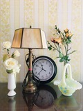 Fenton Basket, Desk Lamp w/Slag Shade, Clock, 2 Rose Vases
