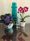 Violet & Orchid Arrangement, Crystal Vase, Green Vase