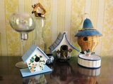 4 Unique Birdhouses, Vases, Louisville Stoneware, Majolica, Iridescent Tall Goblet
