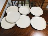 Heavy White Dinnerware Pasta Plates & Serving Bowl