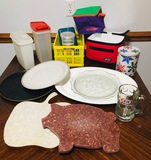 Cutting boards Tupperware A&W mug glass cake plate, platters, storage containers, coolers.