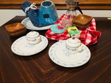 Platters lampshade nut bowls tablecloth coffee pot and more
