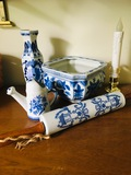 Oriental Decor rolling pin, watering picture, vase & candle.