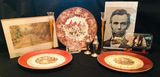 Decorative plates picture glass candleholders silver plate S&P ship N bottle Abe Lincoln