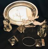 Laser cut cubes, art glass mermaid, bear, SP platter
