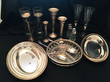 Silver plate trumpet vases, section serving dish two serving bowls and glass towers for floating