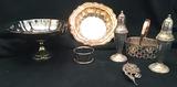 Avon silver plate basket, wire art, S&P, pedestal bowl, serving bowl.