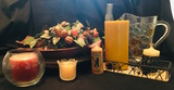 Candles, wire tray, glass pitcher, nut & flowers. Serving platter