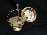 Serving Basket with glass insert & handle England, 900 Silver Serving Spoon, Dimensional layered