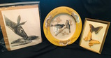 Signed Ray Harm Sr. Print Deer & Fawn, Butterflies in bowed glass frame, Bird Plate Decor