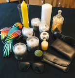 Tall Candles, Silver Candle Holders, Sunglasses, Parrot, Glass Jar