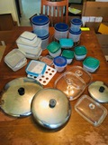 Mix of Containers, Metal Pot Lids & Glass Lids