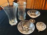 EAPG Footed bowls, Pedestal bowl, Large Vases