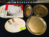 Several Silver-plated serving trays. Christmas, Platter, S&P.