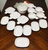 White Corning Ware Grab it,  Corning Ware Side Kick, 17 PCS & rubber lids