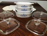 4 Corningware Pyroceram Blue Cornflower Casserole Dishes with glass and rubber lids