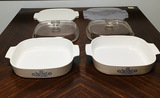2 Corningware Pyroceram Blue Cornflower Casserole Dishes with glass and rubber lids
