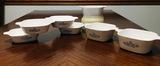 6  Corningware Pyroceram Blue Cornflower Casserole Dishes with rubber lids & 1 White 700ml Casserole