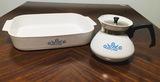 Corningware Pyroceram Blue Cornflower Casserole Dish with Coffee Pot