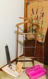Butler Suit Valet Stand, Metal Towel Rack, Tie Rack, Caddy, Textile Art