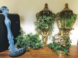 Wall Decor Spoon, Birdcage & plastic green flora