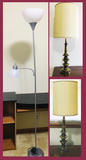 2 Brass Table Lamps and Floor Lamp with Double Lights