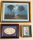 3 Framed Pieces of Artwork. Western, Boy & Poem