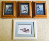 Mallard Ducks 4 Framed Pictures. 3 are a set