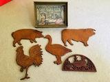 Wooden Artwork Farm Animals & General Store Framed Art