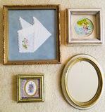 Framed Vintage Linen, Mirror,  Dora Signed Art & Nov. Flowers