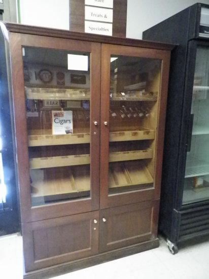"""First Class Cigar Humidor, 47 1/2""""W x 19 1/2""""D x 74 1/2""""H. Cherry Exterior,"""