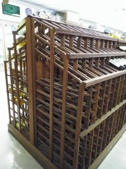 """Redwood Wine/Champaign Display. Double Sided for Twice The Storage. 44 1/2"""""""