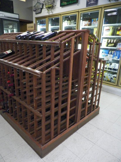 """Redwood Wine/Champaign Display. Double Sided for twice The Storage. 44""""W x"""