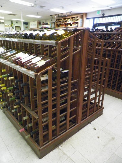"""Redwood Wine/ Champaign Display. Double Sided for Twice the Storage. 48""""W x"""