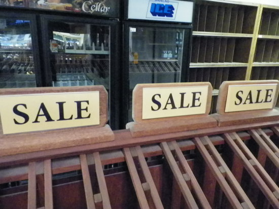 """Quantity of 10 Wooden """"SALE"""" Display Signs For Redwood Wine/Champaign Racks"""